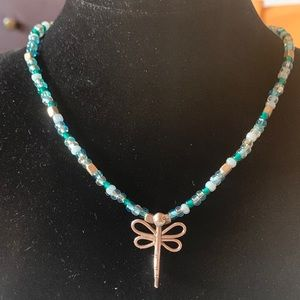 Jewelry - Blue Bead Necklace With Precious Dragonfly